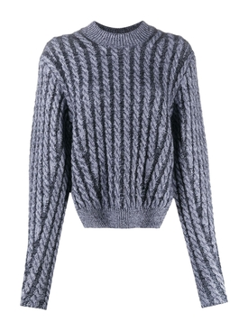 Two-tone cable knit sweater SWEET NAVY