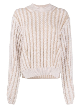 Two-tone cable knit sweater SANDY BEIGE