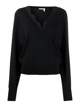 Black silk and lace v-neck jumper