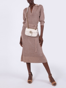 Beige Wool and Silk Belted Midi Dress