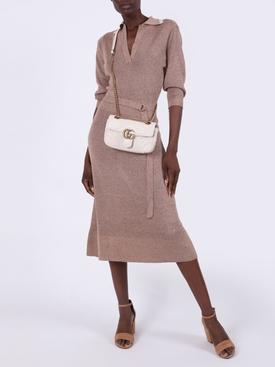 Beige Wool and Silk Belted Midi Dress