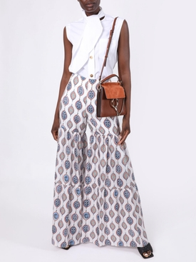 Ceramic printed wide-leg trousers
