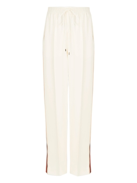 High-waisted drawstring pants PRISTINE WHITE