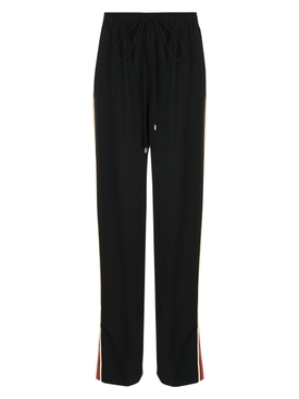 High-waisted drawstring pants BLACK