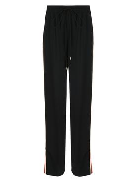 High-waisted drawstring pants BLACK