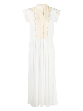 White and cream cap sleeve button-down midi dress