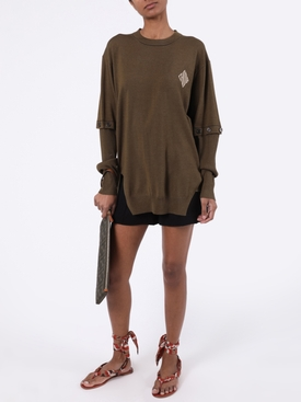 Olive buttoned-sleeve top