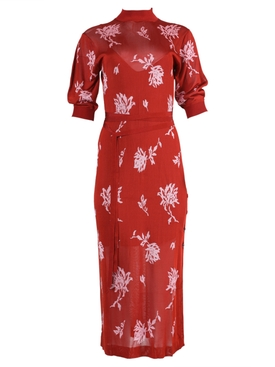 Chloé - Red Floral Knit Dress - Women