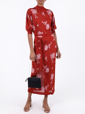 Red floral knit dress