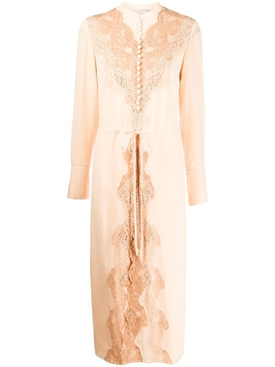 Silk lace panel mid-length dress