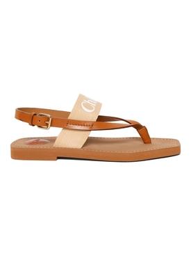 Woody Thong Slingback Sandal, Soft Tan