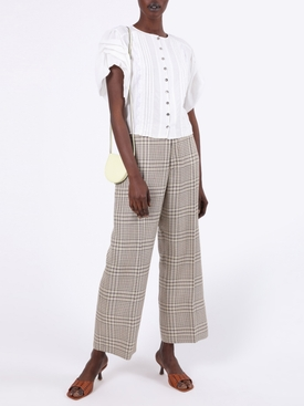 White Pleated Button-Down Blouse