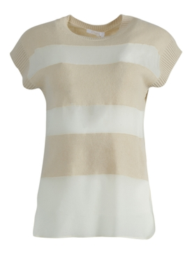 Chloé - Ivory Striped Panel Top - Women