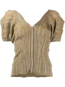 Bronze Metallic Knit Top
