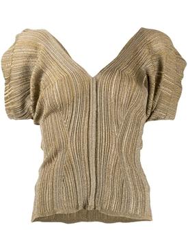Bronze Metallic Knit Top