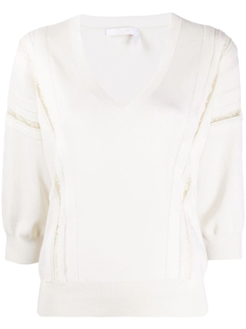 Chloé - Ivory Lace-trim Knitted Top - Women