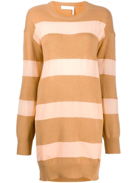 Chloé - Striped Camel And Pink Knit Dress - Women