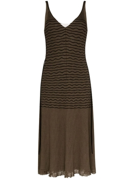 Chloé - Stripped V-neck Midi Dress - Women