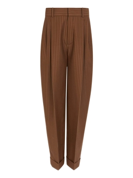 Brown Pinstripe Carrot Trousers
