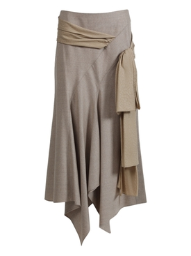Draped Asymmetric midi skirt