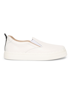 Leather Slip-on Sneakers, White