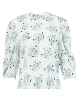 Silk floral bouquet print blouse, soft white