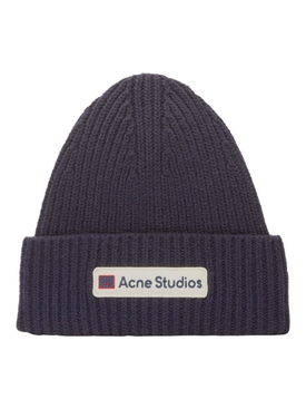 Navy Ribbed Beanie Hat