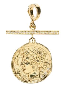 GODDESS SMALL DIAMOND COIN CHARM WITH PAVE BAR