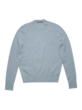Face Wool crew neck sweater Mineral blue
