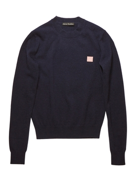 Face Wool crew neck sweater Navy and pink