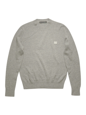Face Wool crew neck sweater Grey Melange