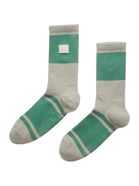 Grey and Green Ribbed Socks