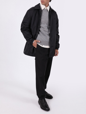 Face Long Drawstring hem jacket, Black