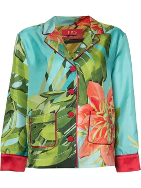 Tropical Print Pajama Blouse