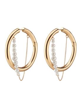 Gold Pearl Riley Hoops