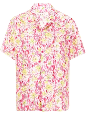 Pink Floral print short-sleeve silk shirt