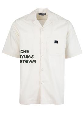 Graphic logo bowling shirt oat beige