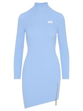 HIGH NECK ASYMMETRICAL ZIP SLIT DRESS BABY BLUE