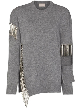 CUTOUT CUPCHAIN SWEATER GREY MARL