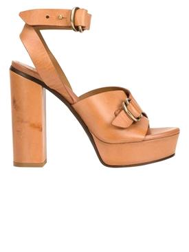 Platform Buckled Leather Sandals BROWN