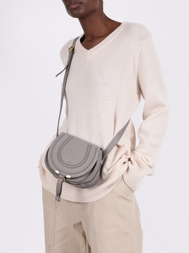 Grey Marcie round saddle mini bag