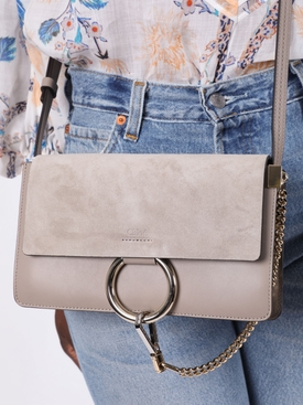 Small faye leather shoulder bag MOTTY GREY