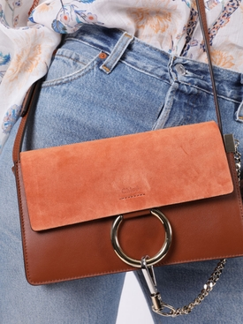 Small faye leather shoulder bag CLASSIC TOBACCO