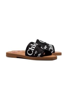 Woody Canvas Slides, Black