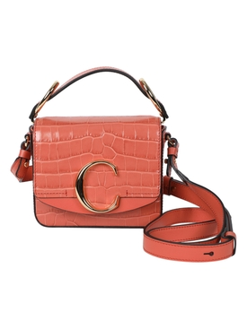 Tawny Orange Croc-embossed C mini box bag