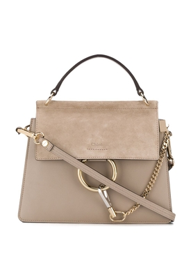 Faye suede leather shoulder bag MOTTY GREY