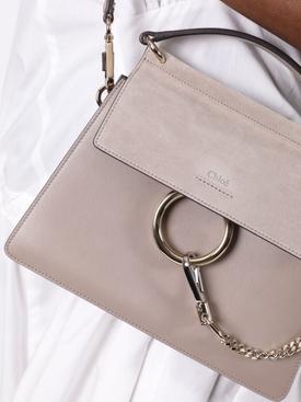 Faye suede leather shoulder bag MOTTY GREY