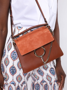 Faye suede leather shoulder bag CLASSIC TOBACCO