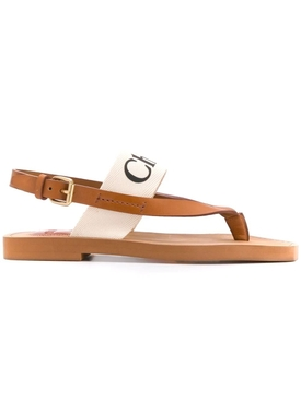 Chloé - Milk White Logo Print Leather Sandals - Women