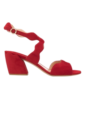 Chloé - Red Scalloped Strap Sandals - Women